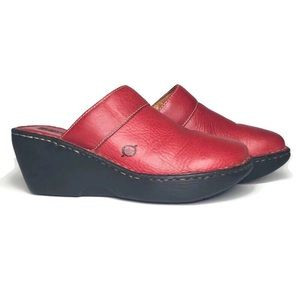 Born red leather wedge clogs / mules size 6
